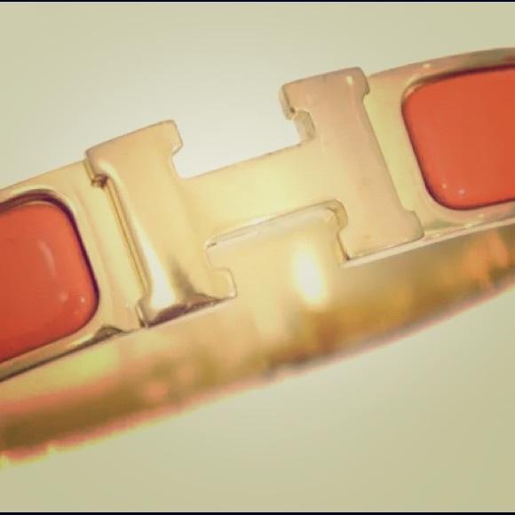 Hermes Jewelry   Authentic Orange Enamel Clic Clac Bracelet   Poshmark 733e1f62d90